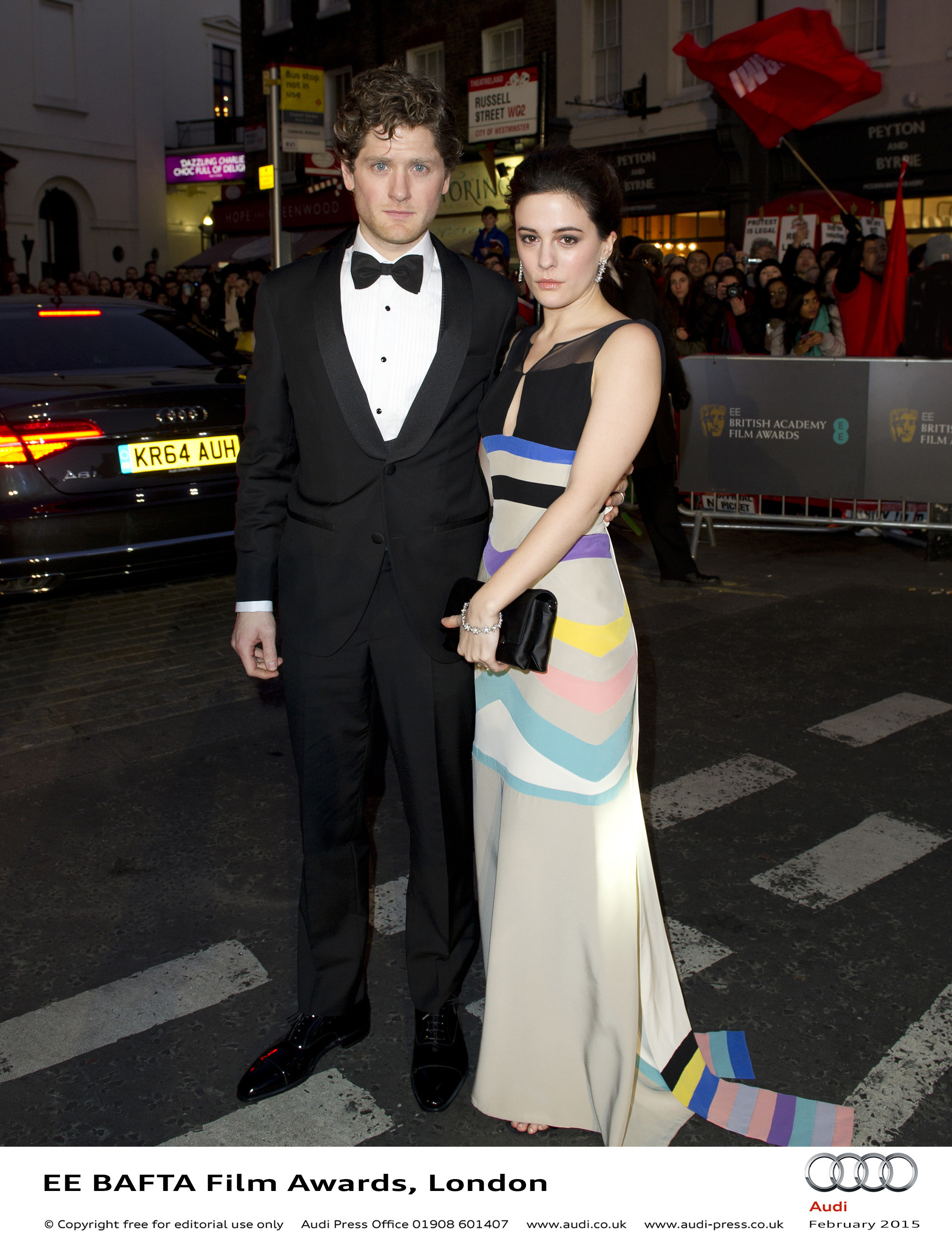 Phoebe Fox and Guest - EE BAFTA Film Awards